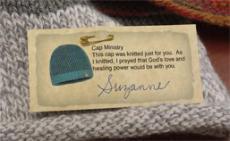 Women Knit Caps for MVH Cancer Patients photo